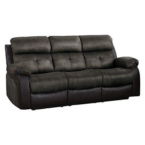 Homelegance Manual Double Reclining Sofa, 82'W, Brown Two-Tone