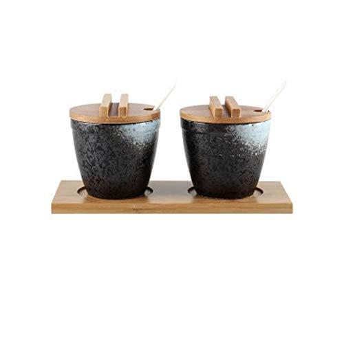 ZSR-haohai Latas de Almacenamiento de cerámica con latas de cucharas Estilo de Japón Cubierta de Madera del condimento Cocina for Guardar Botellas de Salsa/latas de petróleo con la Bandeja de bambú
