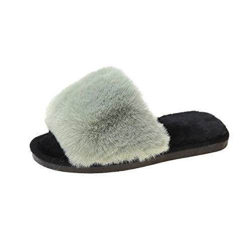 Zquest Zapatos de Piscina para niños, Zapatillas de Felpa de Fondo Plano de otoño e Invierno, Zapatillas de algodón cálidas para Mujer-Green_37