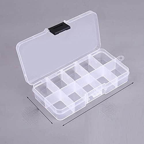 Caja práctica Caja de almacenamiento de plástico con compartimento de 24 rejillas Caja de soporte de tornillo de cuentas de joyería de maquillaje Contenedor de exhibición-10 rejillas