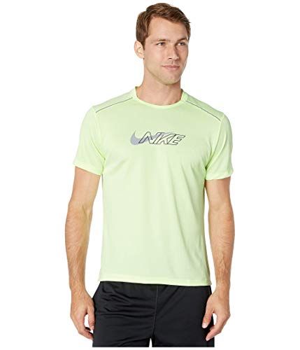 NIKE Miler Flash NV T-Shirt Camiseta, Verde (Barely Volt/Reflective Silv), (Talla del Fabricante: Medium) para Hombre