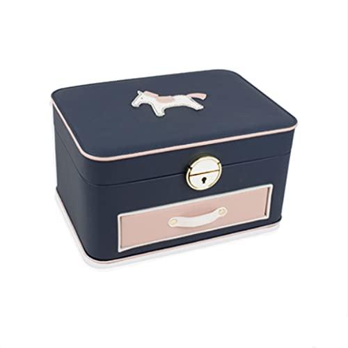 QIFFIY Caja de joyería de Cuero con Espejo y Bloqueo, Caja de Almacenamiento de Joyas de niña para almacenar Pendientes de Anillos de Collares (25 * 18.5 * 13,5 cm) (Color : Classic Dark Blue)
