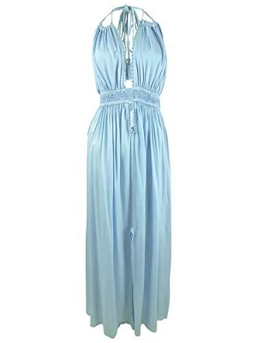 Boho Me Women's Plunging Cinched Waist Maxi Dress Swim Cover Up Light Blue L