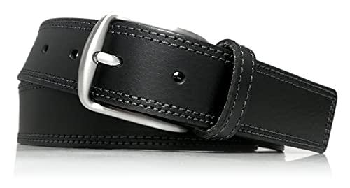 almela - Cinturón piel - Hombre y Mujer - Piel vaquetilla - Cuero vaquetilla- Doble costura sport -...