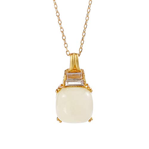 S925 collar de plata esterlina mujer ins luz de lujo de oro antiguo con incrustaciones de jade Hetian botella de perfume colgante cadena de clavícula accesorios