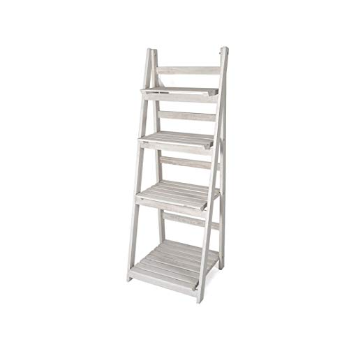Houten Decoratie Ladder Emma – Opbergplank – Ladderrek met 4 Planken – Open Kast - Wit