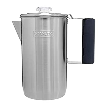 Stanley Camp Percolator w/Silicone Cool Grip - Easy Carry 6 Cup Stainless Steel Coffee Pot 1.1 QT Old School Coffee Maker