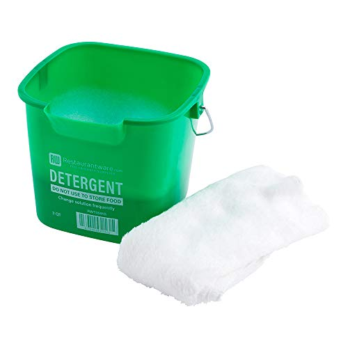 """RW Clean 3 Qt Square Green Plastic Cleaning Bucket - with Stainless Steel Handle - 7"""" x 6 3/4"""" x 6"""" - 1 count box - Restaurantware"""