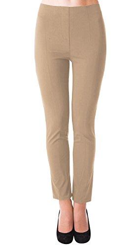 Danaest Damen Stretch Hose gerades Bein (491), Grösse:XL, Farbe:Beige