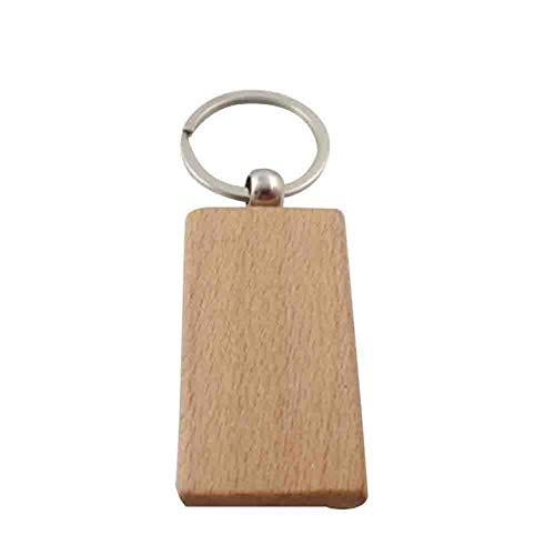 Mackur DIY Holz Schlüsselanhänger Holz Schlüsselring für Gravur Nachricht Informationen Schlüsselring Hängende Dekoration für Taschen Geldbeutel 1 Stück, holz, e, 5.5*3.1CM