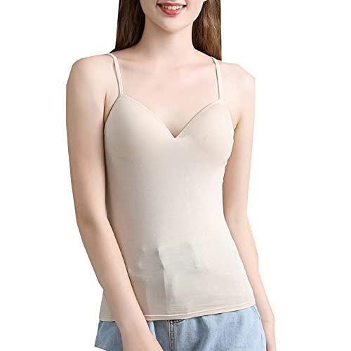 Sujetador Acolchado para Mujer Correa De Espagueti Chaleco con Cuello En V Cami Camisetas Sin Mangas Camisa Blusa