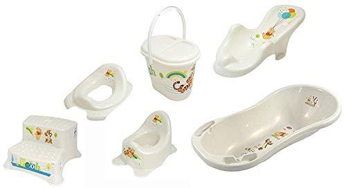 6er Z Set Perl Premium Disney Winnie Pandey Perl Blanc Baignoire XXL 100 cm + Siège de Baignoire + Pots + Wc Pièce Jointe + Tabouret en Deux Étapes + Sceau à Couches
