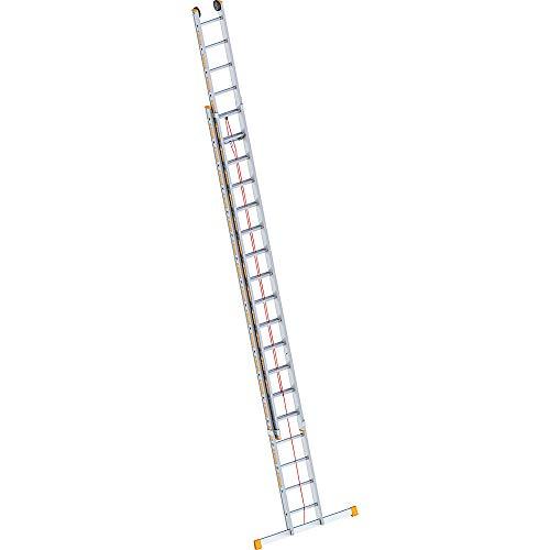 Layher 1037018 Seilzugleiter Topic 18, Aluminiumleiter 2x18 Sprossen, zweiteilig, ausziehbar, Länge 9.30 m