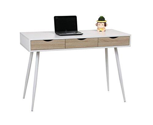 UCLA Mesa estilo nórdico, para salón,escritorio,despacho,estudio,habitación juvenil,ideal teletrabajo.Mesa de madera blanca, patas metálicas y 3 cajones color roble