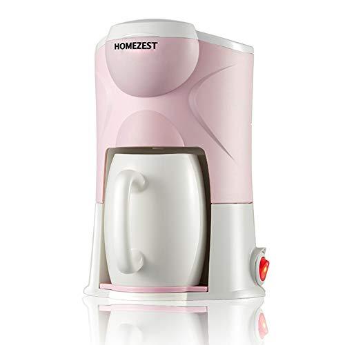 DishyKooker - Cafetera automática para casa, mini portátil, 220 V, con taza de cerámica estándar nacional, color rosa + adaptador estándar europeo