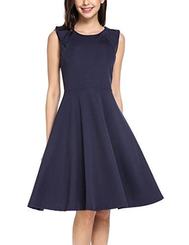 elegant sommer damen partykleid ärmellos A Linie Knielang festlich kleid dunkelblau xxl