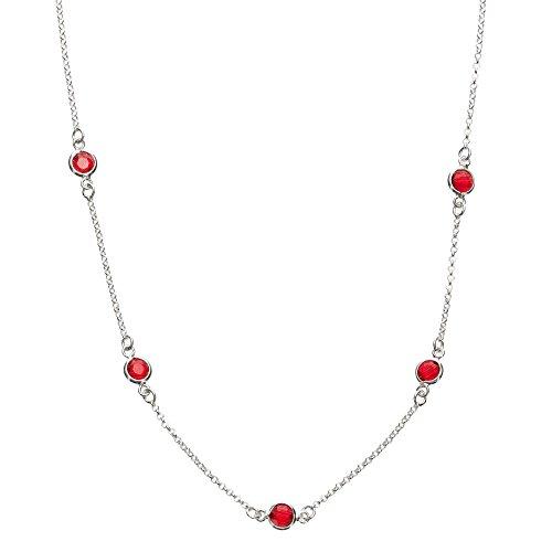 Córdoba Jewels | Gargantilla en Plata de Ley 925 con Piedra semipreciosa con diseño Dolce Rubí Silver
