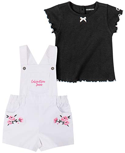 Calvin Klein Baby Girls' 2 Pieces Shortall Set, Black/White, 3-6 Months