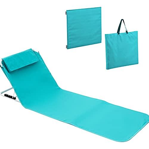 Stay&me klappbar Liegestuhl Gartenliege Wellnessliege Schwerlast Strandliege Strandliegen mit stufenlos Verstellbarer Rückenlehne - Die Strandmatten und platzsparend zusammenfaltbar (Blau)