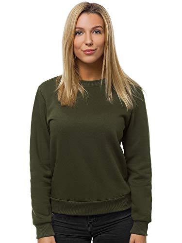 OZONEE Damen Sweatshirt Pullover Langarm Farbvarianten Oversized Langarmshirt Pulli ohne Kapuze Baumwolle Baumwollmischung Classic Basic Rundhals-Ausschnitt Sport JS/W01 Khaki S