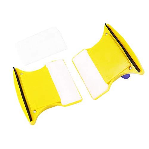 VCB Limpiador de limpiaparabrisas de Vidrio Lateral Doble de Ventana magnética Cepillo de Limpieza Rascador - Amarillo y Azul: Amazon.es: Hogar