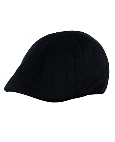 NYFASHION101 Fashionable Solid Color Unisex Cotton Duck Bill Newsboy Ivy Cap, Black