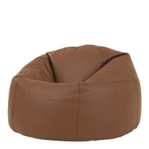"""Icon Klassischer Sitzsack """"Valencia"""", Hellbraun, 85cm x 50cm, Leder, Sitzsäcke für das Wohnzimmer, Groß, Naturleder, Stuhl für das Schlafzimmer"""