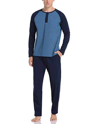 Hawiton Herren Schlafanzug Zweiteiliger Pyjama Set Lang Nachtwäsche Winter Sleepwear Loungewear aus Baumwolle (Blau, X-Large)