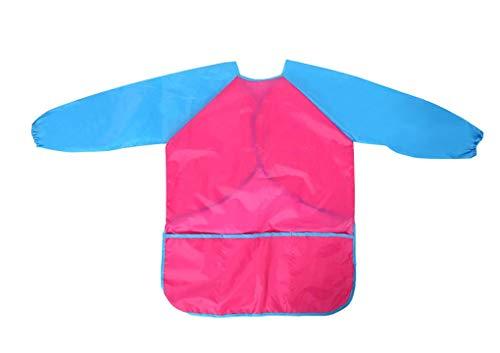 Malschürze für Kinder, 2-8 Jahre, Malkittel aus Nylon, wasserdicht, Klettverschluss, Künstlerschürze, atmungsaktiv, mit langen Ärmeln und Vordertaschen, für Mädchen, Jungen, Blau