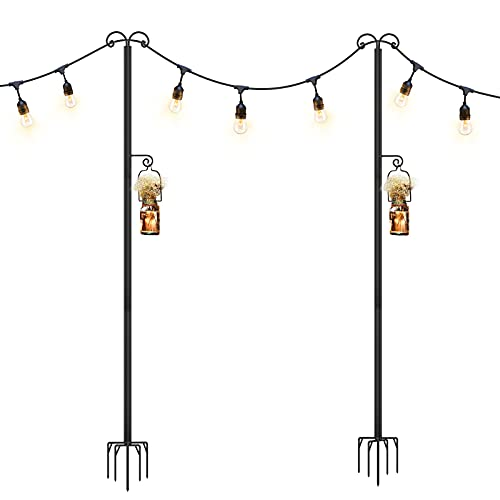 Panapo String Light Poles Outdoor, 9Ft Sturdy 5-Prong Fork Steel Outside String Light Hanging Lights Pole for Patio Holiday Backyard Bistro Party Wedding Garden (2Pack)