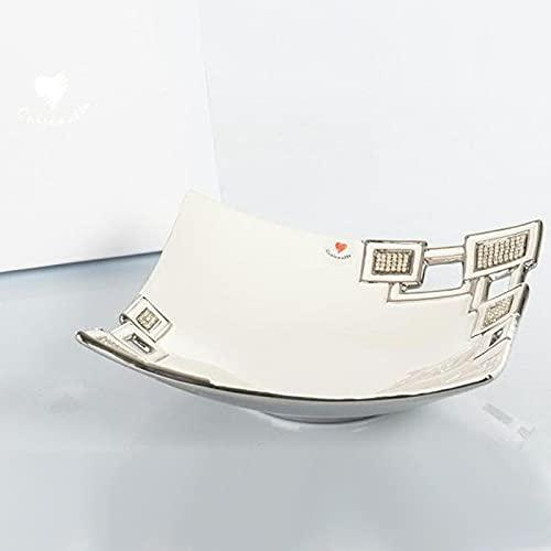 Ingrosso e Risparmio Cuorematto – Centro de mesa blanco de cerámica y detalles cuadrados plateados, bombonera para boda, boda de plata, con caja de regalo incluida (con paquete de color crema)