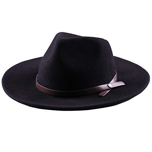 Anycosy Wide Brim Fedora Hat Western Wool Cowboy Felt Hats Men Women Crushable Black
