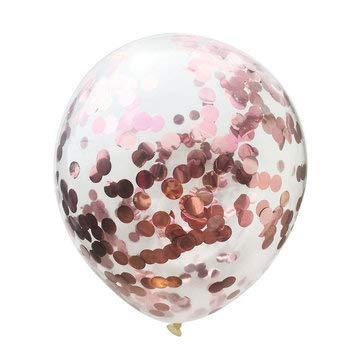 DyNamic 5St 36 'Gigantische Heldere Ballon Confetti Helium Latex Bruiloft Verjaardagsfeestje Decoraties - Rose goud