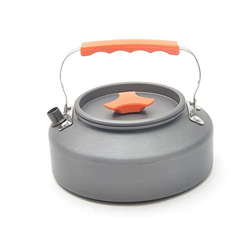 Grevosea Hervidor de agua de 1,6 l, para camping, senderismo, tetera portátil, hervidor de agua, compacto y ligero, con mango de silicona, para pesca