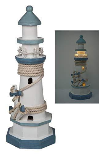 CBK-MS. Leuchtturm blau/Weiss mit Tau + Anker und LED Beleuchtung 8 LEDs Batteriebetrieb Maritime Deko 30 cm Dekoration...