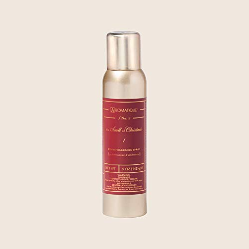 Aromatique The Smell of Christmas Fragrant Aerosol Room Spray in 5 oz Gold Bottle for Home Decor and Gift