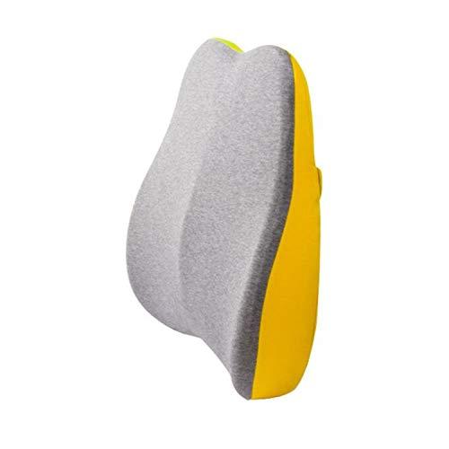 Qingzhuan 2 Piezas Cojín de Apoyo Lumbar para la Espalda Fundas Lavables de Espuma Viscoelástica Cojines de Silla Que Previenen el Dolor de Espalda (Amarillo)