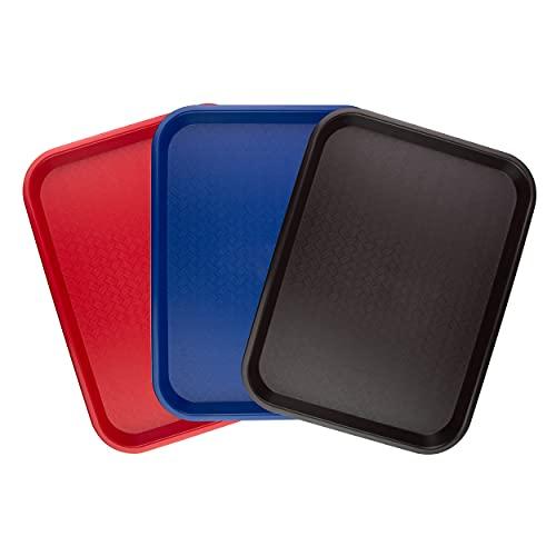 Extiff Set di 3 vassoi di Servizio rettangolari in plastica - 1 Rosso 1 Blu 1 Marrone