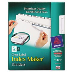 AVE11421 Label Dividers, Punched, 5-Tab, 5 ST/PK, 11x8-1/2, WE