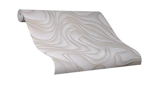 Tapete Beige Welle Geschwungen Linien Ovale Colani Evolution für Wohnzimmer Schlafzimmer oder Küche Made in Germany 10,05m X 0,70m Premium Vliestapete 56318