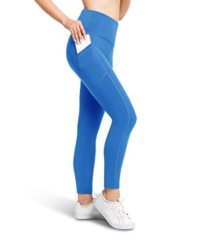 BROOKLYN + JAX Leggings de cintura alta para mujer con 3 bolsillos, control de abdomen, pantalones de entrenamiento de yoga, longitud completa o 7/8, 78 pies de entrepierna, Turquesa, XL