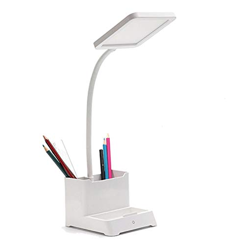 LED Desk Lamp,Rechargeable Desk Lamp with Pen Holder & Phone Holder,Battery Operated Desk Lamp,Cordless,Stepless Dimming, 360° Flexible Metal Hose,Portable Reading Table Lamp,Mini Cute Lamp for Kids