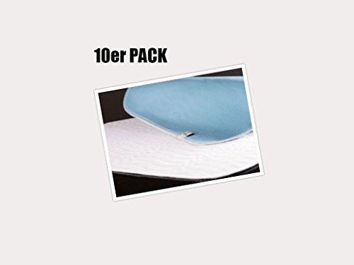 10er PACK !! Inkontinenzauflage/Unterlage/Bettschutz/Hygieneschutz ca. 75x90cm cm blau/weiß 1Wahl Top Qualität, 100% Polyester, kochfest, wiederverwendbar, Castejo