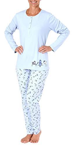 Damen Pyjama Schlafanzug mit süssen Hunde Motiv - auch in Übergrössen - 281 201 96 226, Farbe:hellblau, Größe2:44/46