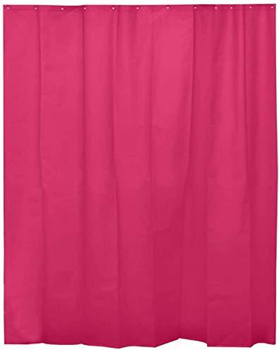 H HANSEL HOME Duschvorhang Fuchsia für Badezimmer mit 12 Ringen, 50prozent Eva-Gummi & 50prozent Polyethylen (180 x 200 cm)