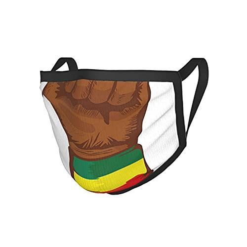 Rasta-äthiopische Rebellion-Symbol, Handgelenk mit Flagge, Farben, Kunstdruck, braun, grün, gelb, rot & grün, schwarze Kantenmaske. Stoffmaske
