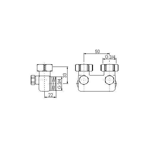 Oventrop Hahnblock Umlenkstück Eckform für vertauschten Vor- und Rücklauf