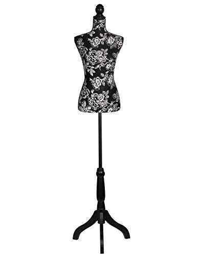 Female Dress Form Mannequin Adjustable Height Black Tripod Stand Woman Body Torso Clothing Display - Black Flower