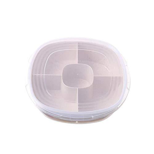 Creine 5 Grids Separate Fächer Weizenstrohsüßigkeiten-Snack-Obstschachtel mit Deckel Sortierablagen