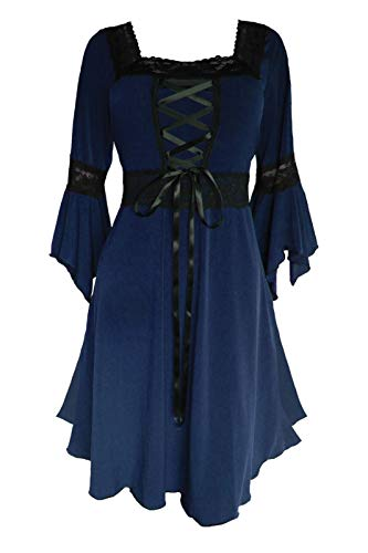 Dare to Wear Renaissance Corset Dress: Timeless Victorian Gothic Witchy Women's Plus Size Gown for Everyday Halloween Cosplay Festivals, Midnight 3X